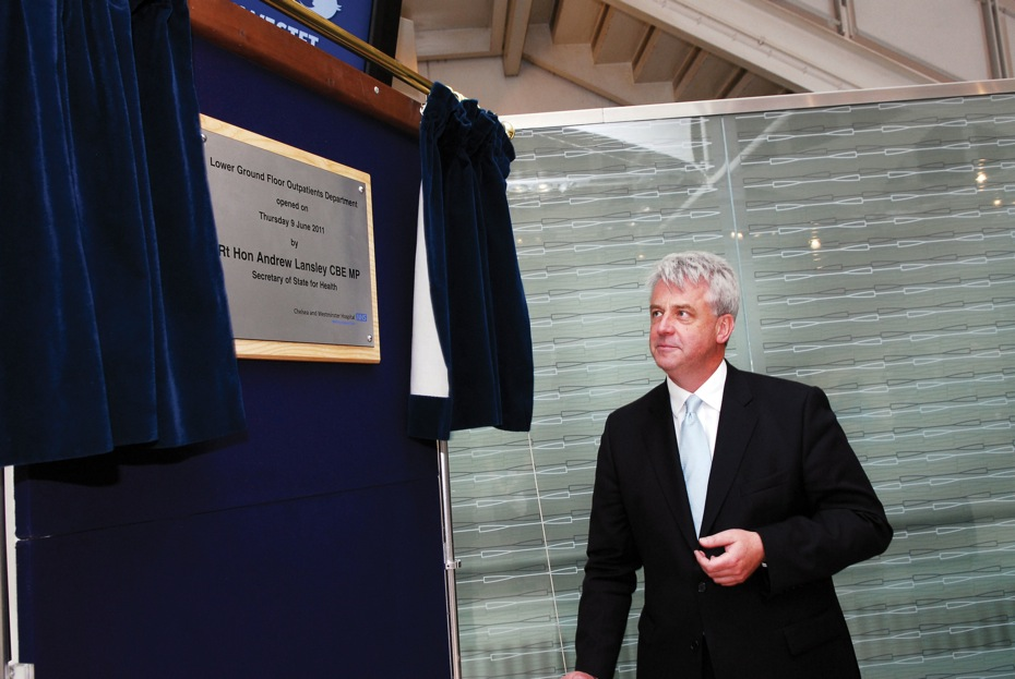Andrew Lansley (Secretary of State for Health) unveils a plaque to officially open the new Lower Ground Floor Outpatients Department